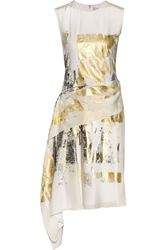 Reed Krakoff Asymmetric Foil Print Silk Dress