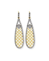 Freida Rothman 14K Vermeil Cz Basket Weave Teardrop Earrings