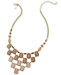 Inc International Concepts Gold Tone Stone And Lucite Teardrop Statement Necklace Only At Macy's