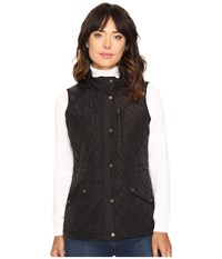 Lauren Ralph Lauren Faux Leather Trim Quilted Vest Black Women's Vest