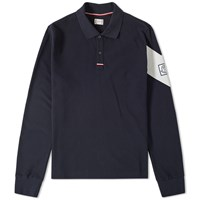 Moncler Gamme Bleu Long Sleeve Chevron Polo Blue