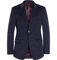 Gucci Navy Slim Fit Cotton Corduroy Blazer Blue