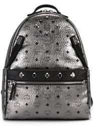 Mcm Logo Print Backpack Metallic