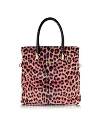 Just Cavalli Pink Leopard Print Fleece Tote