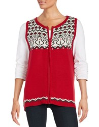 Joseph A Zip Up Snowman Sweater Vest