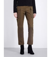 Alexander Mcqueen Cargo Straight Cotton Twill Trousers Military Green