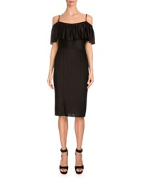 Givenchy Off The Shoulder Ruffle Sheath Dress Black