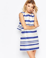 Jovonna Road Trip Shift Dress In Stripe Blue