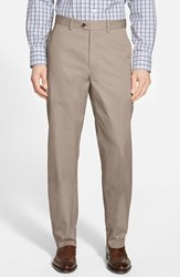 Men's Big And Tall John W. Nordstrom Smartcare Flat Front Supima Cotton Pants Taupe