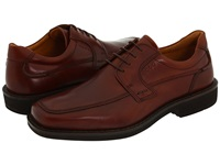 Ecco Seattle Apron Toe Tie Cognac Smooth Full Grain Leather Men's Lace Up Moc Toe Shoes Brown