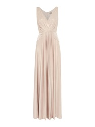 Biba Pleat Detail Full Skirted Maxi Dress Champagne