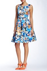 Gracia Brushing Flower Pattern Ribbon Dress Blue