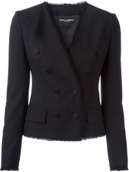 Dolce And Gabbana Wrap Double Breasted Blazer Black