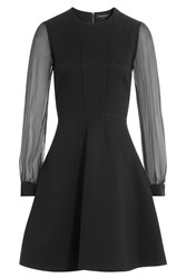Tara Jarmon Dress With Sheer Longsleeves Black