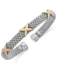 Macy's X Accent Textured Cuff Bracelet In 14K Gold And Sterling Silver