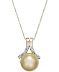 Macy's Cultured Golden South Sea Pearl 10Mm And Diamond 1 6 Ct. T.W. Pendant Necklace In 14K Gold Yellow