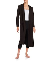 Lord And Taylor Knit Open Front Robe Black