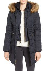 Vince Camuto Women's Faux Fur Trim Down And Feather Fill Parka With Inset Bib