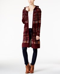 Hooked Up By Iot Juniors' Hooded Midi Cardigan Vino Fall Rainbow Space Dye Combo