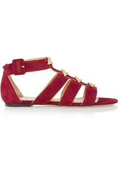 Charlotte Olympia One More Kiss Embellished Suede Sandals Red