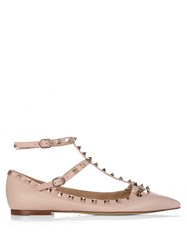 Valentino Rockstud Leather Flats Light Pink