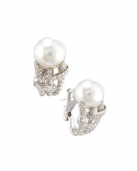 Mikimoto 18K South Sea Pearl And Diamond J Hoop Earrings White