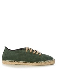 Manebi Hamptons Lace Up Suede Espadrilles Green