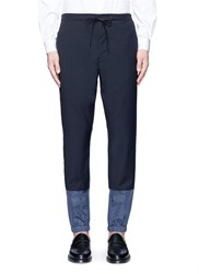 3.1 Phillip Lim Grid Cuff Wool Lounge Pants Blue