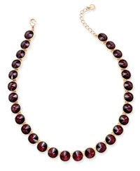 Charter Club Round Crystal Necklace Only At Macy's Purple Rose