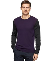 Calvin Klein Colorblocked Crew Neck Sweater Purple Shade