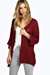 Boohoo Loose Knit Batwing Cardigan Wine