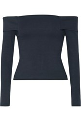 Mason By Michelle Mason Off The Shoulder Stretch Ponte Top Midnight Blue