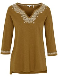 Fat Face Bantham Embroidered Top Sandy Taupe