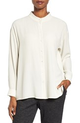 Eileen Fisher Women's Silk Georgette Crepe Stand Collar Blouse Bone