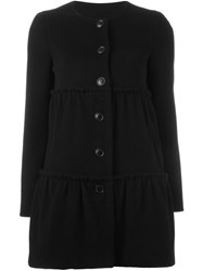 Boutique Moschino Ruffle Panel Short Coat Black