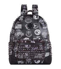 Philipp Plein Badge Print Studded Backpack Unisex Black
