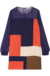 Diane Von Furstenberg Reagan Chiffon Paneled Silk Mini Dress Navy Orange