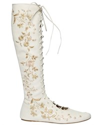 Etro Embroidered Nappa Leather Lace Up Boots