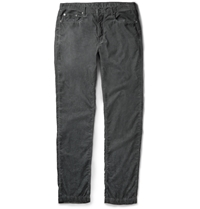 Massimo Alba Slim Fit Garment Dyed Corduroy Trousers Gray