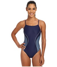 Revolve Splice Energy Back One Piece Speedo Navy Women's Swimsuits One Piece Blue