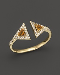 Bloomingdale's Diamond And Citrine Geometric Ring In 14K Yellow Gold Orange Gold