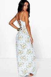 Boohoo Strappy Back Floral Printed Maxi Dress Blue