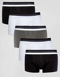 Asos Hipsters In Monochrome With Stripe Waistband 5 Pack Monochrome Multi