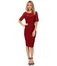 Nue By Shani Ottoman Knit Dress With Lace Yoke And Sleeves Wine Women's Dress Burgundy
