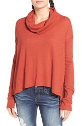 Sun And Shadow Women's Cowl Neck Flyaway Back Tee Red Ochre