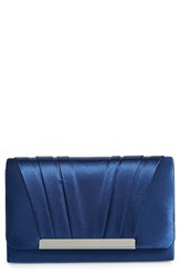 Jessica Mcclintock 'Harper' Satin Clutch Blue Navy