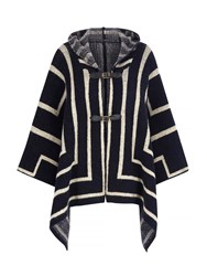 Mela Loves London Hooded Stripe Print Cape Jacket Navy