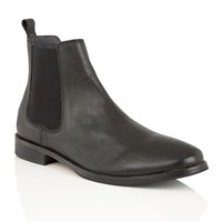 Frank Wright Omar Mens Slip On Gusset Boots Black Leather