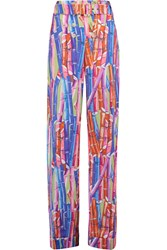 Stella Jean Printed Cotton Wide Leg Pants Blue