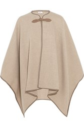 Max Mara Verbas Leather Trimmed Wool Cape Beige